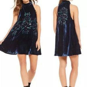 Free People Jill's Sequin Halter Dress Velvet Blue